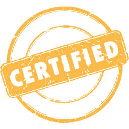 circular label with certified stamp